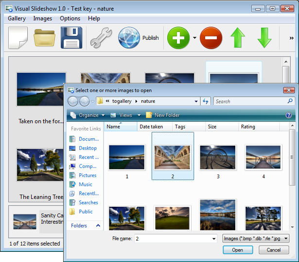 Add Images To Gallery : Free Dhtml Slideshow Maker