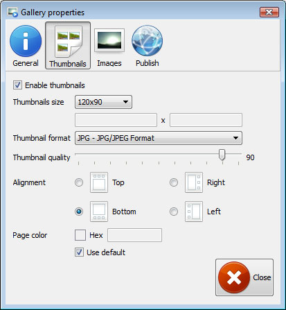 Properties window : Free Dhtml Slideshow Maker