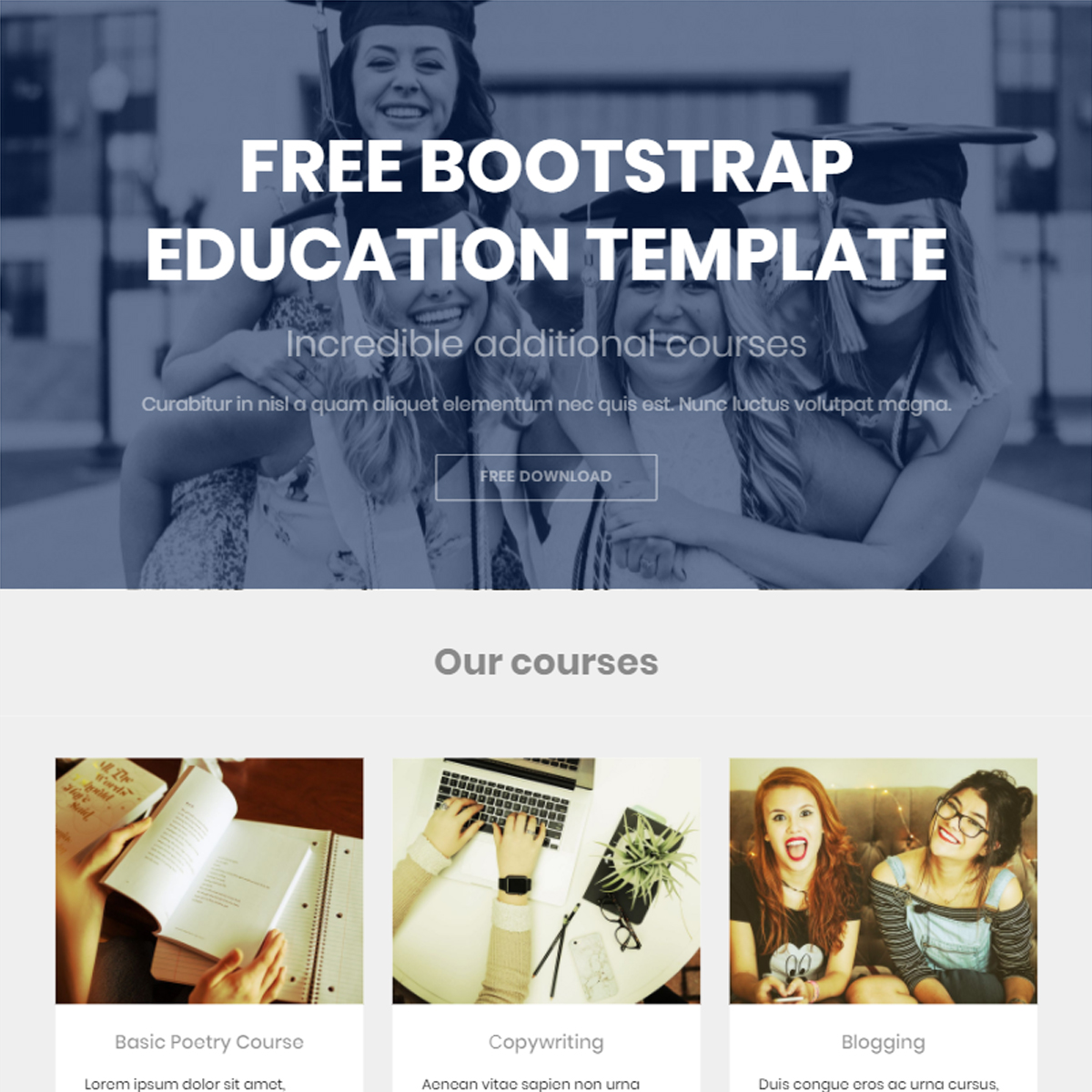 Free Bootstrap Education Templates