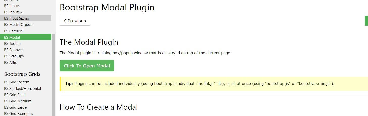 Bootstrap modal  training