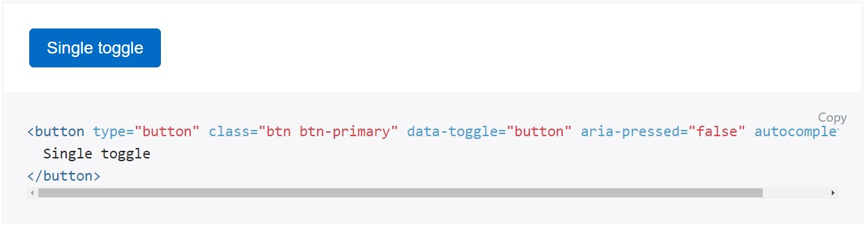 Toggle states  provided  by means of Bootstrap buttons