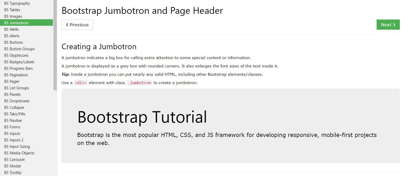 Bootstrap Jumbotron tutorial