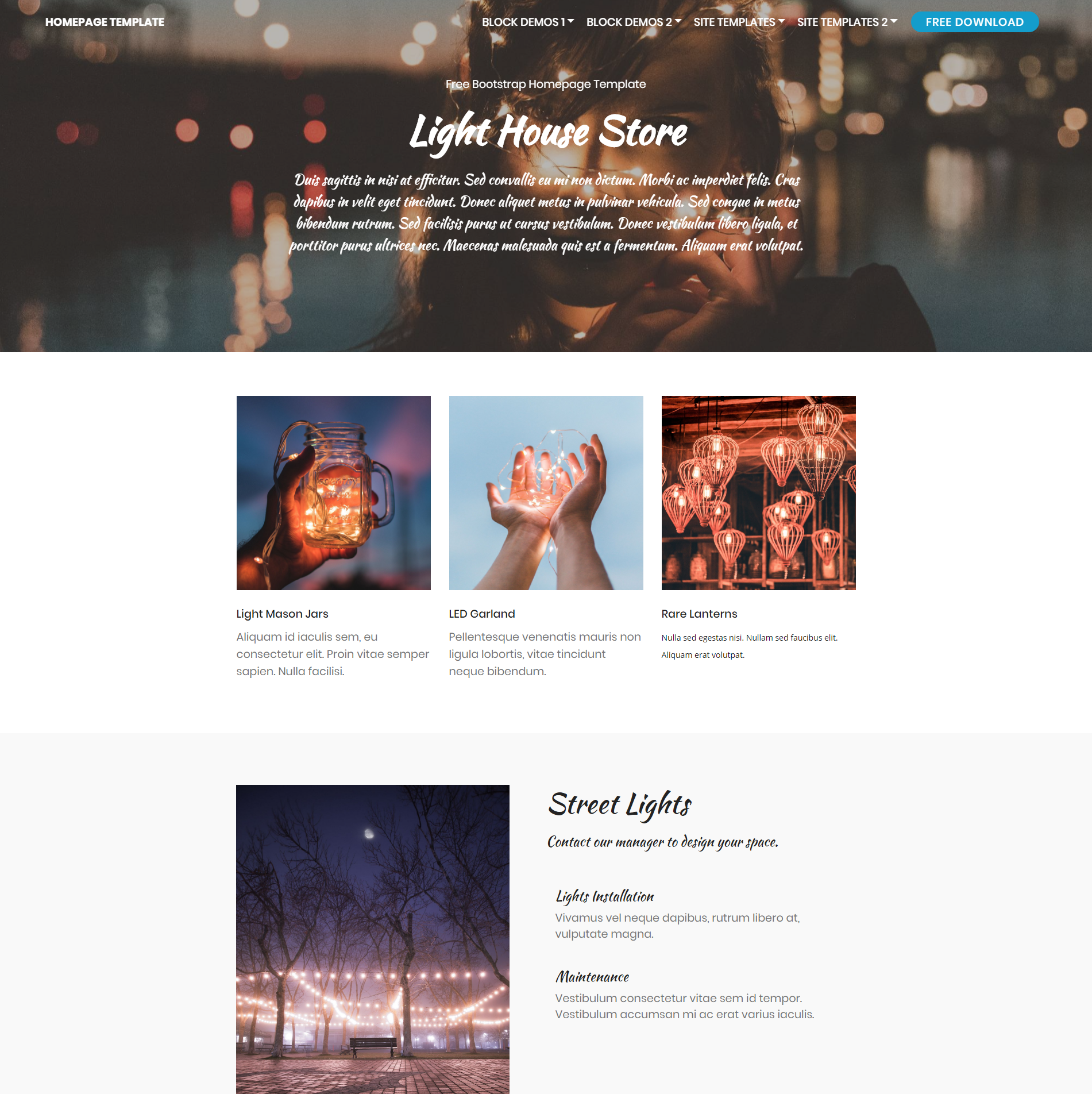 HTML Bootstrap Homepage Templates