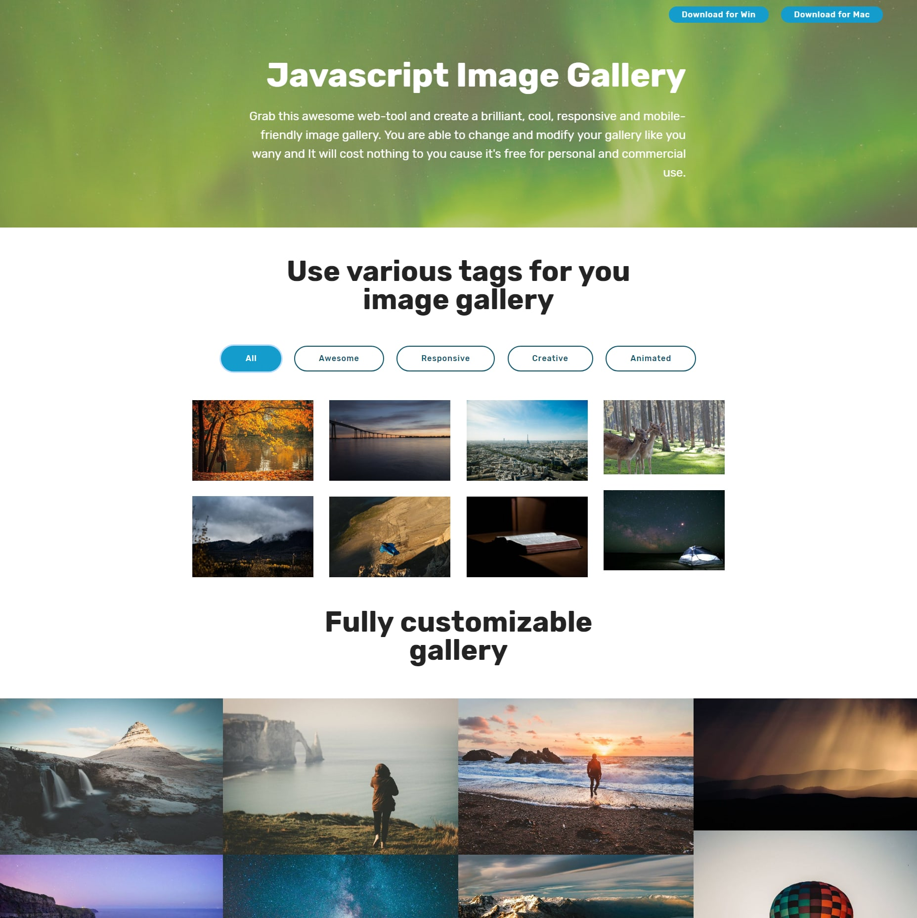 Free Bootstrap Picture Gallery