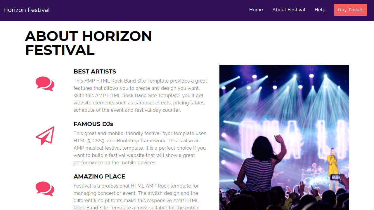 AMP HTML Rock Band Site Template