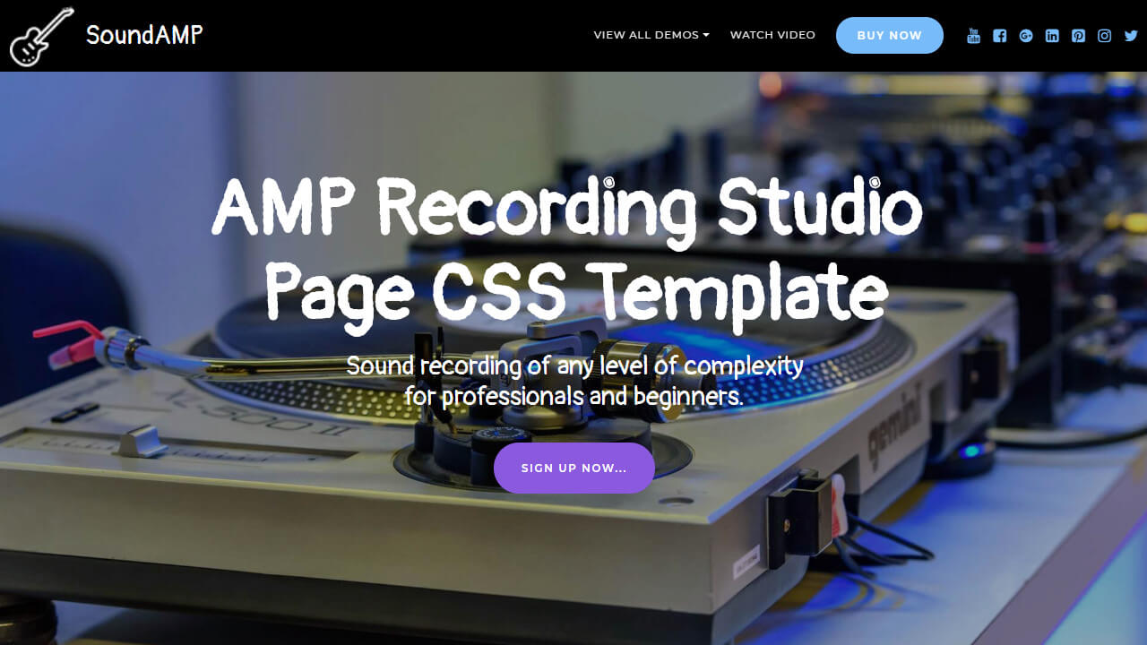 AMP Recording Studio Page CSS Template